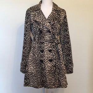 Forever 21 Leopard Print Double Breasted Trench Ct